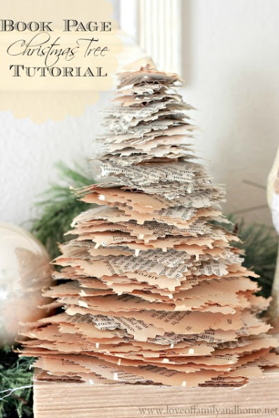 Book Page Christmas Tree Tutorial