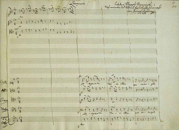 Manuscrit Requiem de Mozart
