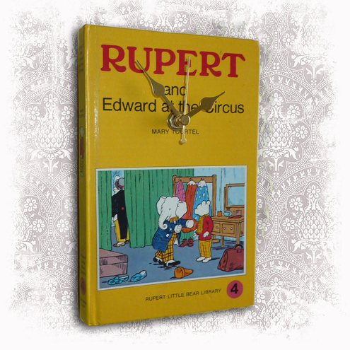 olksy.com-items-2526001-Vintage-Book-Wall-Clock-Upcycled-Rupert-The-Bear