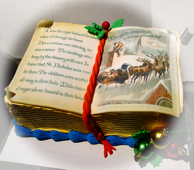 twas-the-night-before-christmas-book-cake