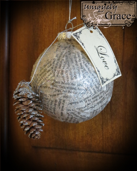 Book+Page+Ball+Ornament+-+Love+-+Glitter+Pine+cone+Helmar+Uniquely+Grace+Lauer