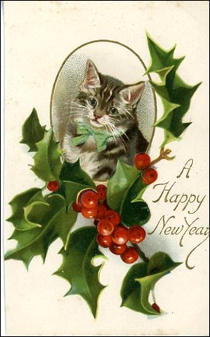 free-vintage-happy-new-year-cards-striped-cat-holly