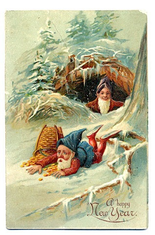 free-vintage-happy-new-year-greeting-cards-elves-with-spilled-basket-of-gold