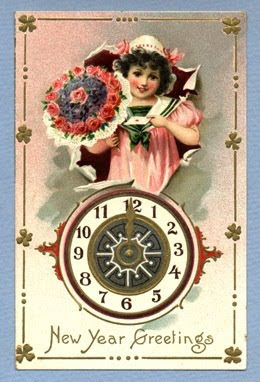 free-vintage-happy-new-year-greeting-cards-girl-clock-flowers-bouquet
