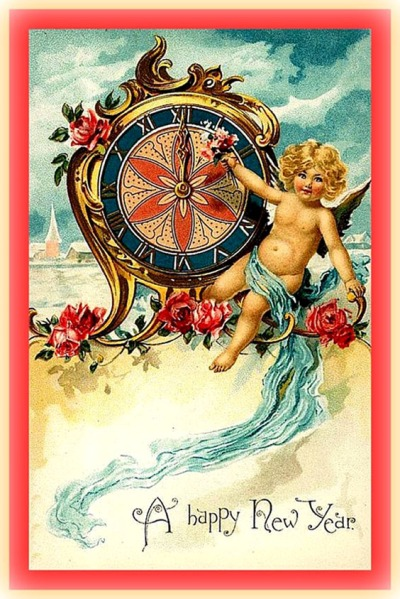 new-year-cards-vintage-angel-and-clock