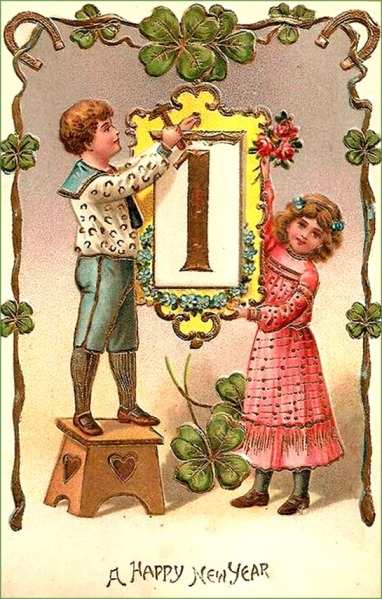 new-years-cards-boy-and-girl-hanging-up-january