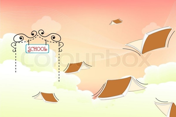 2363211-408869-illustration-of-flying-books-at-school-gate-on-cloudy-background