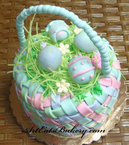 Pastel+fondant+Easter+basket+cake+with+edible+straw+and+fondant+eggs