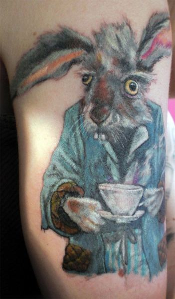 march-hare-tattoo-design-mad-as-saying-alice-in-wonderland-tea-party-crazy-dressing-gown-humor