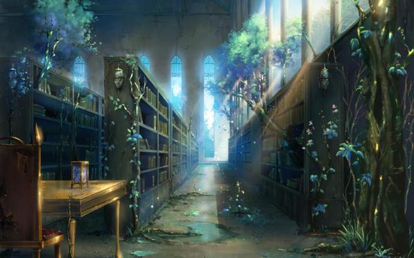 enchanted_library_lovely_blue_magical_hd-wallpaper-1425360