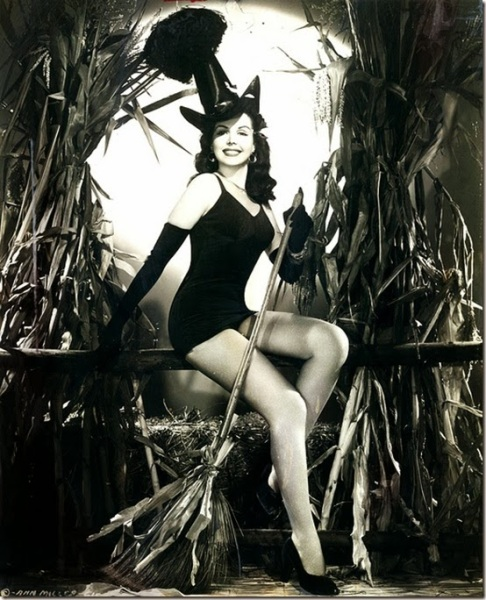Classic Hollywood actress Ann Miller, vintage Halloween witch pin-up girl photo[9]