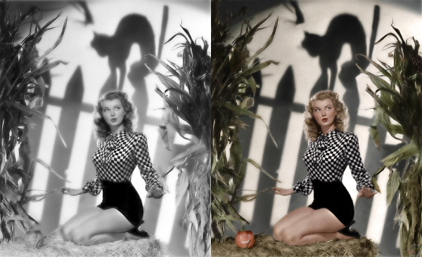 Black and white pinup photo restored and colorized