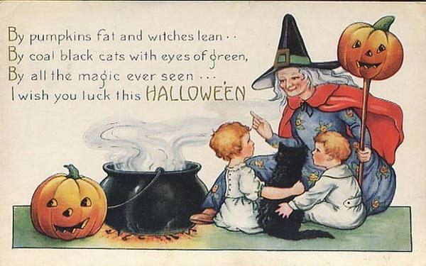vintage-halloween-witch-boy-girl-black-cat-cauldron-pumpkins-card1