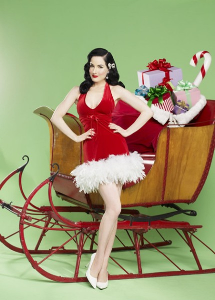 Teese The Season: Dita Von Teese featured in the Frederick's of Hollywood Holiday Pin-Up Parade Collection.  (PRNewsFoto/Frederick's of Hollywood)