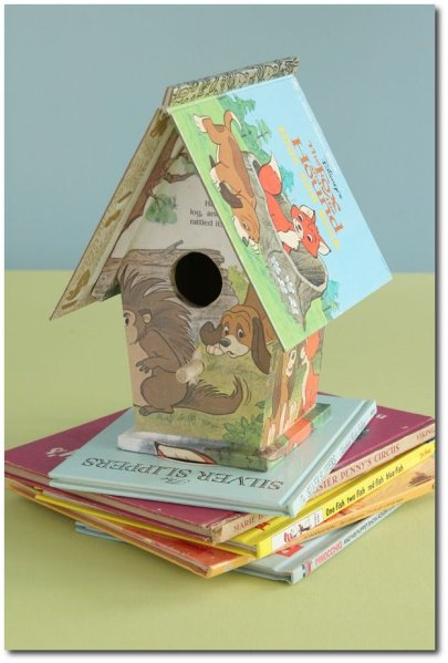 "Turn-a-craft-store-birdhouse-into-a-""fairy-tale""-bookhouse-as-a-nursery-gift.-Use-the-jacket-as-the-roof-and-decoupage-the-exterior-with-pages-from-the-inside."