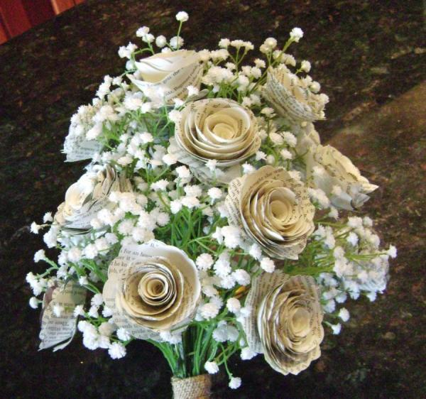 the-klacie-spiral-rose-book-page-bridal-bouquet-with-silk-baby39s-breath-and-burlap-wrap-recycled-toss-bridesmaid-flowers