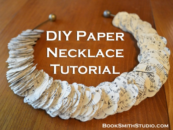 Learn how to upcycle old books or sheet music into an elegant necklace in this easy tutorial by Nikki Smith of BookSmithStudio.com