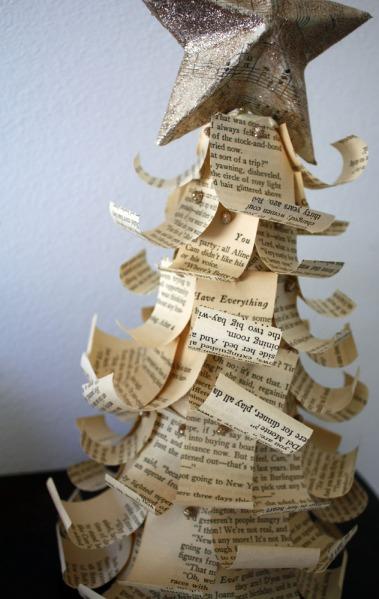 bookpagesreusedchristmasdecorationdiyantiquelooking