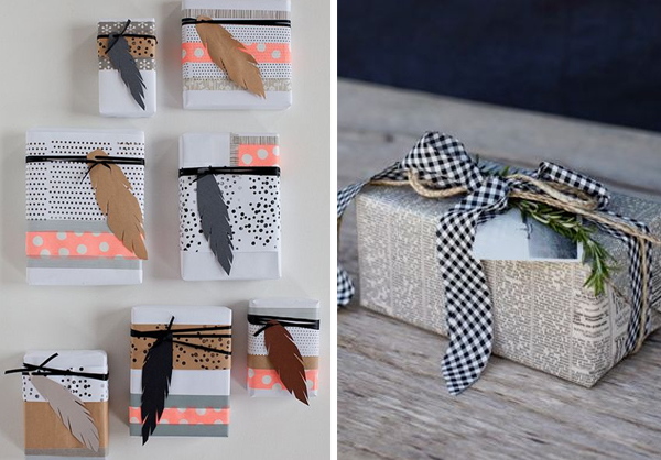 homemade-wrapping-paper-and-newspaper-wrapping-paper-with-ribbon