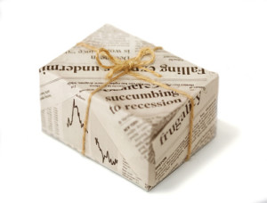 A gift covered with newspaper
