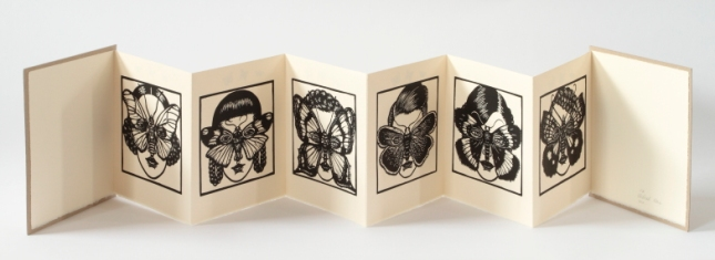 Women With Wings, 2010, Concertina book with linocuts and rubber stamps - page views.JPG