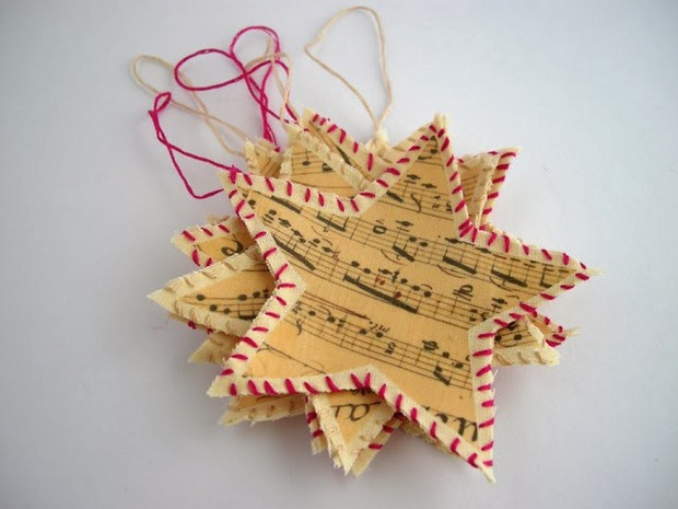 book-page-christmas-ornaments-paper-music-note-stars-red-white-rope-reused-ideas.jpg
