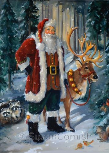 de66af1343374edf95d2f71919cf6491--santa-paintings-christmas-images
