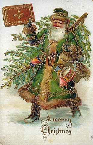 father-christmas-green-coat-christmas-tree-toys-greeting-card