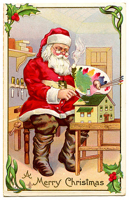 santa painting vintage image graphicsfairy3