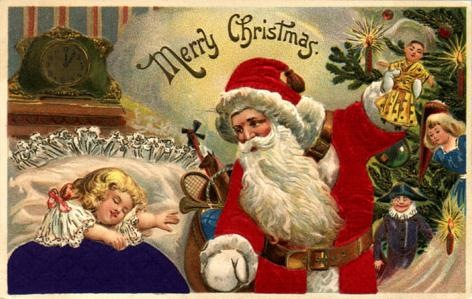 vintage-little-girl-santa-claus-christmas-tree-toys-holiday-card