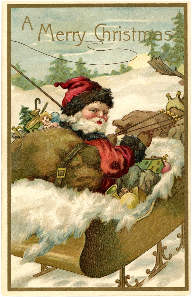 Vintage-Santa-with-Sleigh-Image-GraphicsFairy
